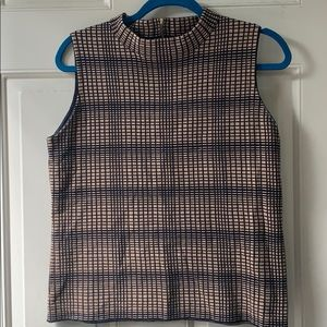 Vince Camuto Checkered Mock Neck Tank